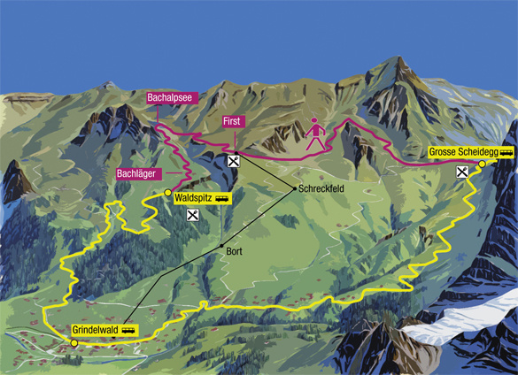 Zoom: Map mountainous walk